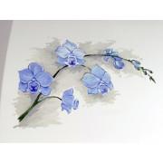 """Белый муар с рисунком """"Орхидея"""""""
