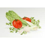 """Белый муар с рисунком """"Овощи"""""""