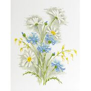 """Белый муар с рисунком """"Полевые цветы"""""""